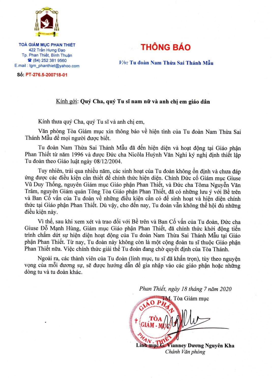 Thông báo về Tu đoàn Thừa Sai Thánh Mẫu 1